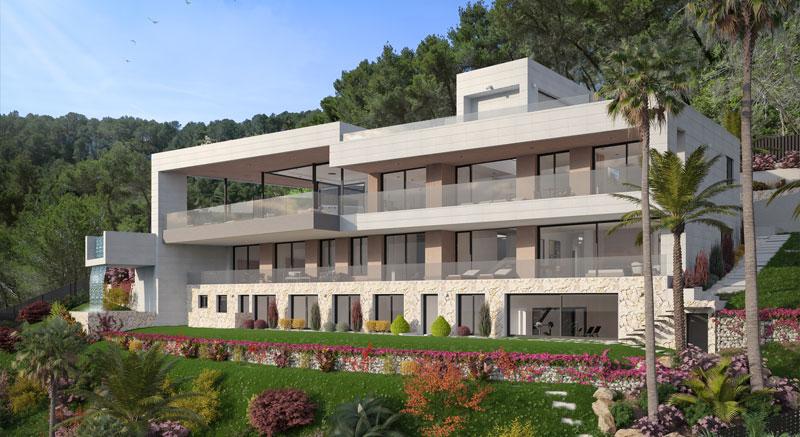 villa-de-lujo-Infinity-mallorca-son-vida-binicaubell-arquitecto-arkipolis-alzado-latera-jardin