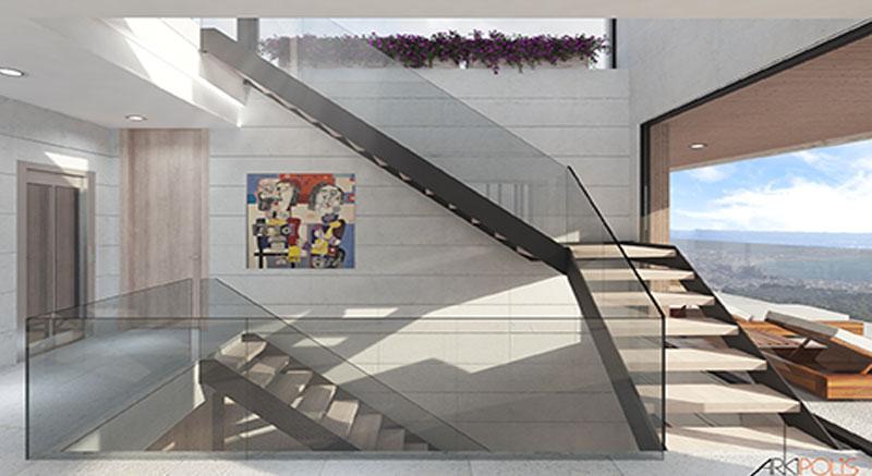 villa-de-lujo-Infinity-mallorca-son-vida-binicaubell-arquitecto-arkipolis-escalera-metalica-madera