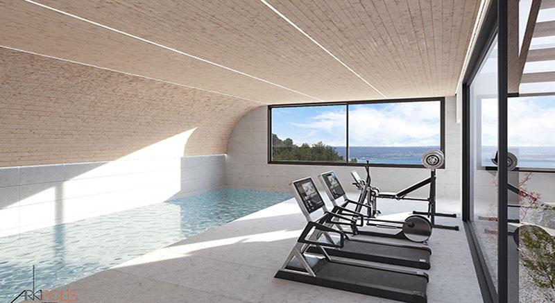 villa-de-lujo-Infinity-mallorca-son-vida-binicaubell-arquitecto-arkipolis-gimnasio-piscina-indoor