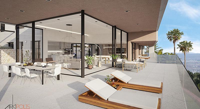 villa-de-lujo-Infinity-mallorca-son-vida-binicaubell-arquitecto-arkipolis-piscina-porche-cubierto-terraza