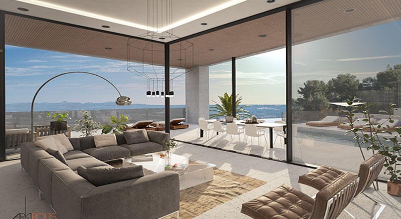 villa-de-lujo-Infinity-mallorca-son-vida-binicaubell-arquitecto-arkipolis-salon-vistas-mar